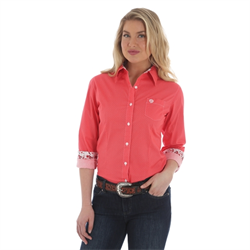 George Strait Ladies Shirt Peach/White Medallion