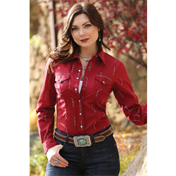 Cruel Girl Western Shirt Ruby Red
