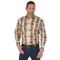Wrangler Men's Checotah Snap Aztec Strip Western Shirt