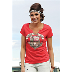 Cruel Girl Red Scoop Neck Honky Tonk Tee