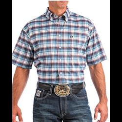 Cinch Men's Arenaflex Blue Brown Plaid Short Sleeve Shirt