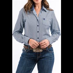Women's Cinch Kodiak Blue White Aztec Print Shirt