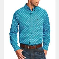 Ariat Men's Laketon Deep Aqua Print Western Shirt