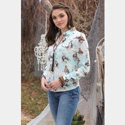 Cruel Girl Blue Bronc Print Rayon Western Shirt