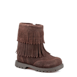 Roper Brown Suede Infant Boots with Fringe