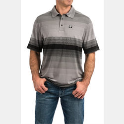 Cinch Men's Arenaflex Gray Stripe Polo Shirt