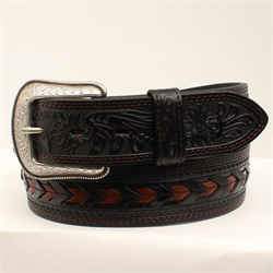 3D Belt Company Black Tooled Belt With Brown Chevron Lacing