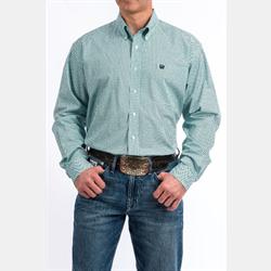 Cinch Men's Button Down Aqua Black Geo Print Western Shirt