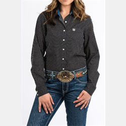 Cinch Ladies Black White Dot Print Button Western Shirt