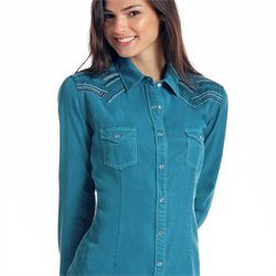 Panhandle Ladies Teal Chambray Western Shirt