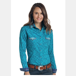 Roughstock Vintage Turquoise Blue Embroidered Shirt