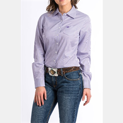 Cinch Women's Lavender and White Striped Western Shirt