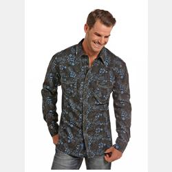 Rock N Roll Men's Black Blue Flower Print Shirt