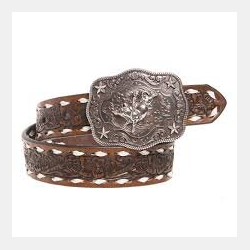 Nocona Boy's Brown Tooled Belt With White Backstitch