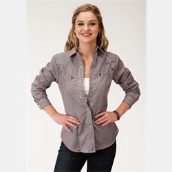 Roper Women's Wine Striped Western Snap Shirt