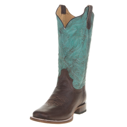 Roper Ladies Brown Turquoise Square Toe Wonder  Boots