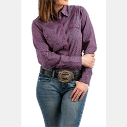 Cinch Ladies Violet Geo Print Snap Front Western Shirt
