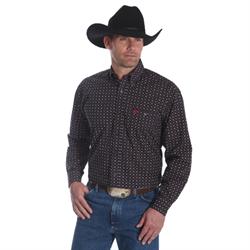 Wrangler Men's George Strait Black Print Western Shirt