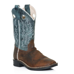 Old West Youth Boy's Snuffed Blue Brown Cowboy Boots