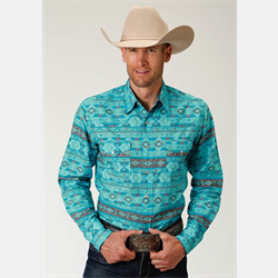 Roper Men's Turquoise Aztec Print Snap Front Shirt
