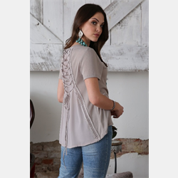 Cruel Girl Grey Sweater with Lace Back