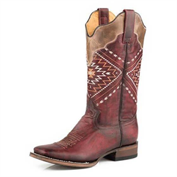 Roper Ladies Red Square Toe Native Cowboy Boot