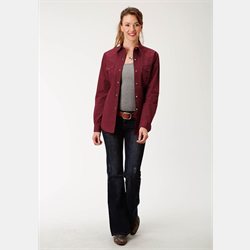 Roper Women's Fill Poplin Western Shirt Red