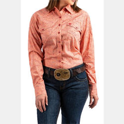 Cinch Ladies Coral Paisley Print Snap Front Western Shirt