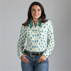 Wrangler Ladies Western Fashion Ivory Cactus Print Snap Front Shirt