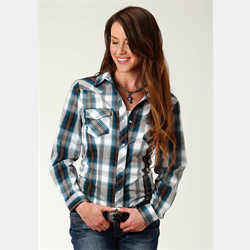 Roper Ladies Teal and Brown Plaid Shirt
