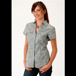 Roper Women's Green Paisley Short Sleeve Shirt