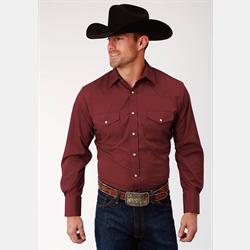 Roper Men's Solid Wine Snap Western Shirt