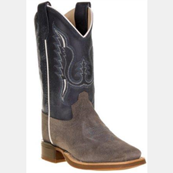 Old West Dark Blue Square Toe Youth Western Boots