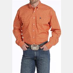 Cinch Men's Orange Geometric Print Western Shirt