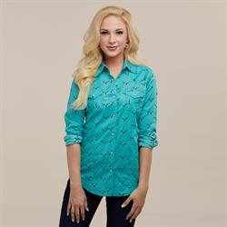 Wrangler Ladies Aqua Longhorn Western Shirt
