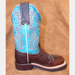 Boulet Kids Wide Square Toe Moka Turquoise Boots