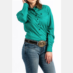Cinch Ladies Teal Dot Print Button Up Western Shirt