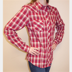Roper Ladies Red Tan Plaid Snap Western Shirt