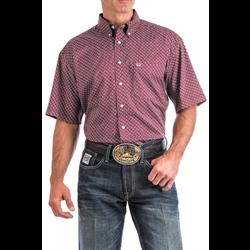 Cinch Men's Burgundy Geometric Print Areanflex Western Shirt