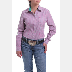 Cinch Ladies Violet Teal Stripe Button Western Shirt