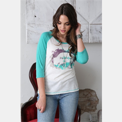 Cruel Girl Water Colour Buffalo Raglan Sleeve T Shirt