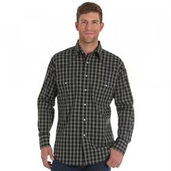 Wrangler® Wrinkle Resist Shirt Black Plaid