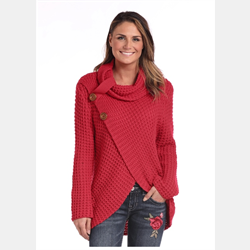 Panhandle Ladies Waffle Knit Crossover Red Cowl Sweater