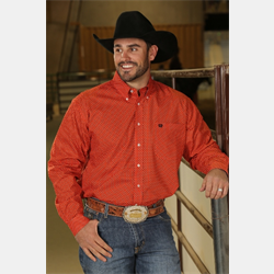 Cinch Men's Western Shirt Orange with Dots