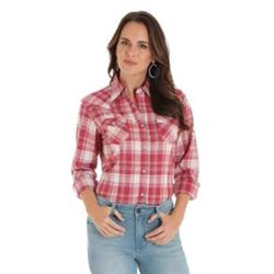 Wrangler Ladies Long Sleeve Red Plaid Western Shirt