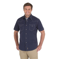 Wrangler Men's Navy Retro Spotted Western Shirt