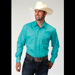 Roper Men's Solid Aqua Western Shirt