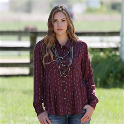 Cruel Girl Country Chic Burgundy Blouse
