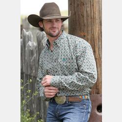 Cinch Men's Cotton Western Shirt Green Geo Pattern