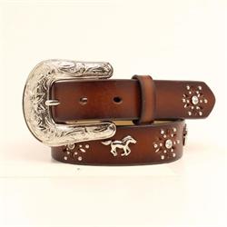Ariat Girls Brown Crystal Horses Belt